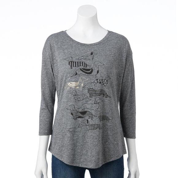 Sonoma Dog Graphic Plus Size Cute Grey Tshirt